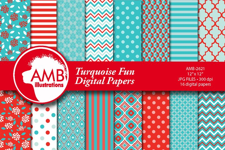 Fun bright turquoise and red papers AMB-2621