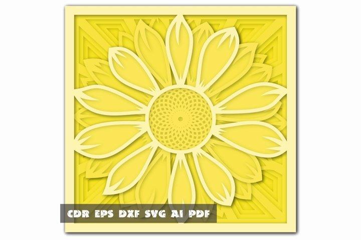 Multilayer Mandala SVG, Cut file Mandala, 3D Sunflower