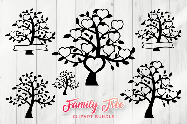 Family Tree SVG - Hearts Clipart Bundle