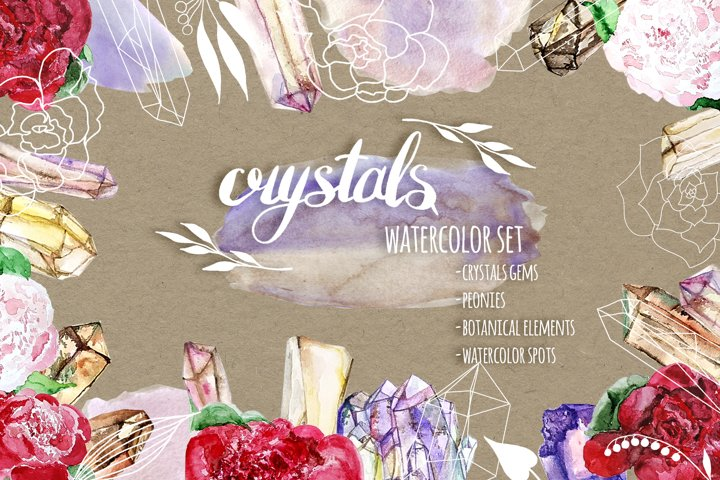 Watercolor set of Crystals Gems, Flowers, Watercolor Spots