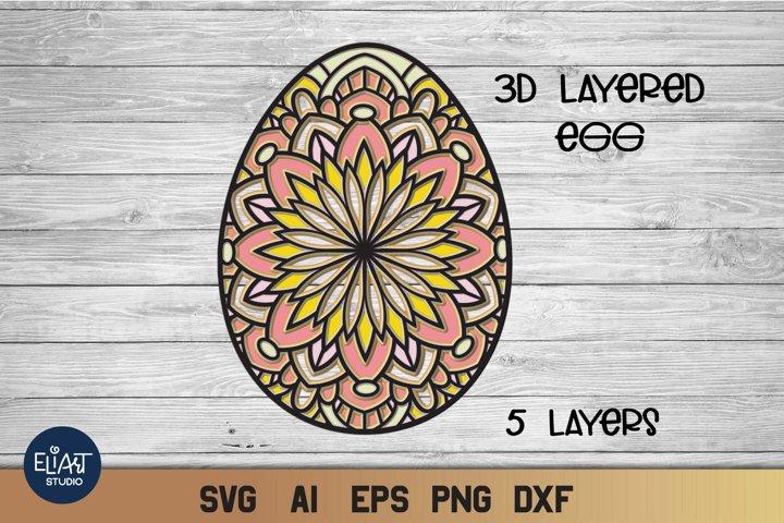 Easter SVG | 3d SVG Layered Egg | Mandala Cut File