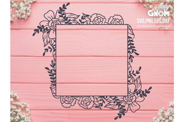 Floral Frame SVG, Square Floral frame svg, Square Floral Fra