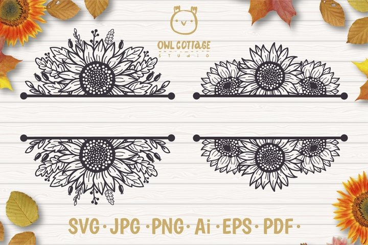 Sunflowers Split Border Monograms Set svg, floral monograms