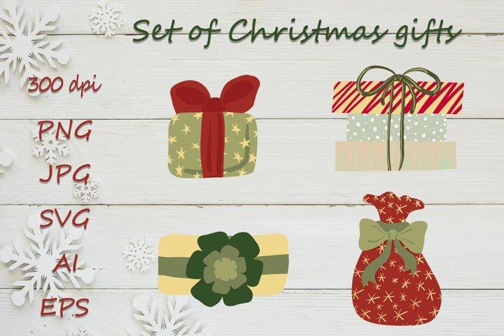 Set of Christmas gifts svg. Christmas presents