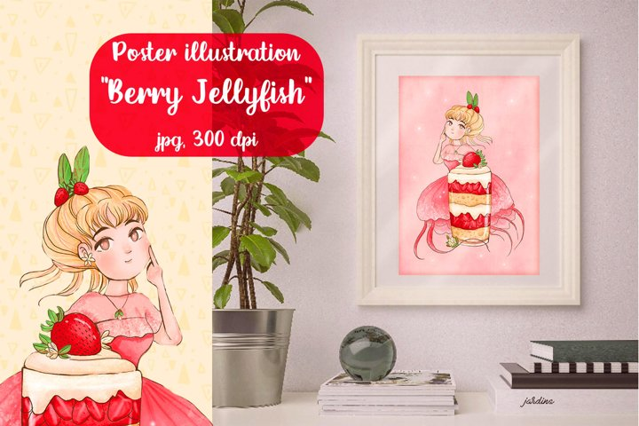 Illustration poster pink Berry Jellyfish with cream dessert