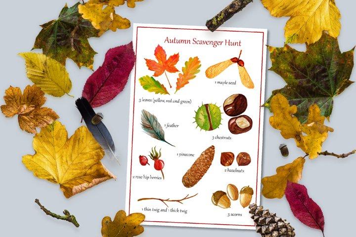 Autumn Scavenger Hunt. Kids activity