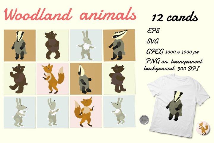 Woodland animals card design