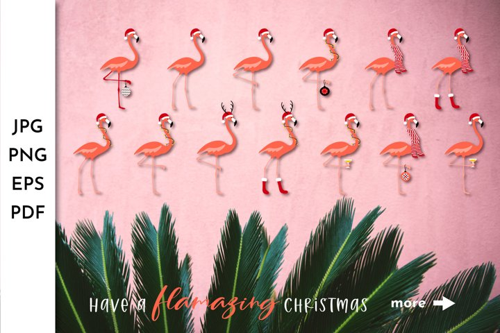 Flamingo PNG. Flamingo Clipart. Pink Christmas. Summer Xmasw