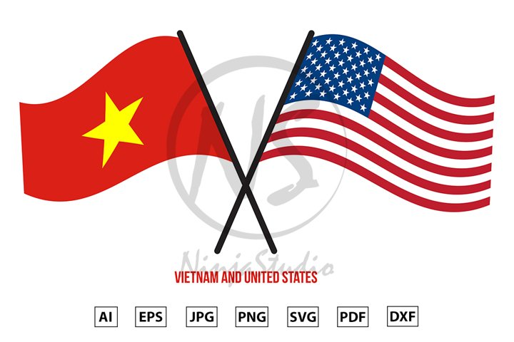 Vietnam and United States Flags Crossed And Waving