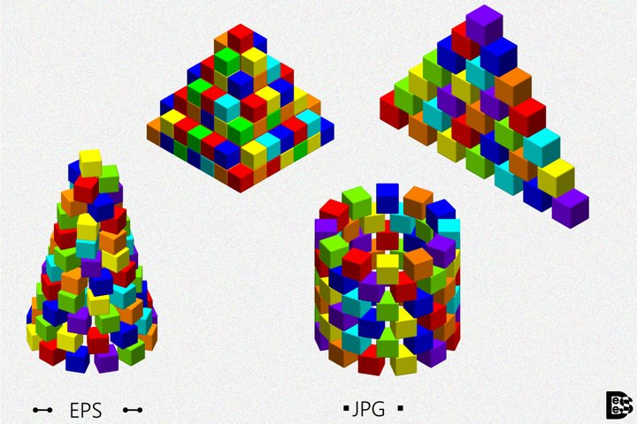 Pyramid from toy building blocks set. 3d Vector illustration