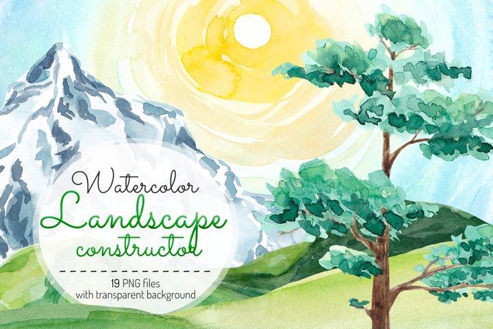 Landscape clipart Watercolor landscape constructor Nature