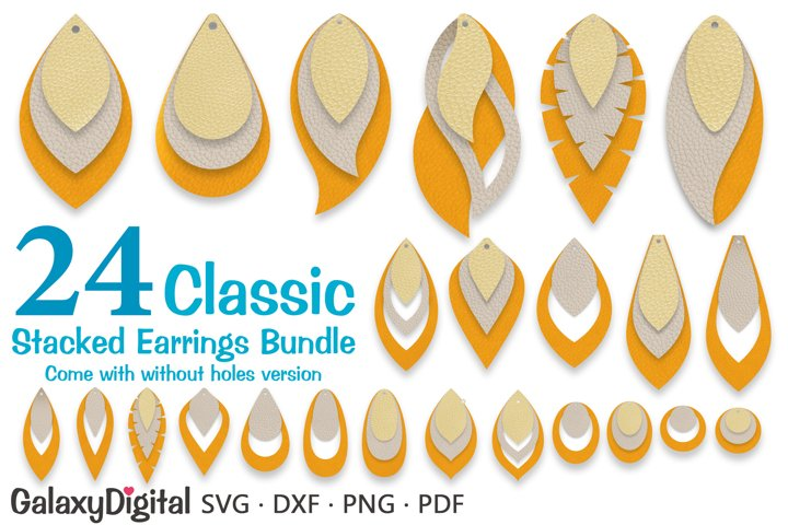 Stacked Earring SVG Bundle, Leather Earring Templates SVG