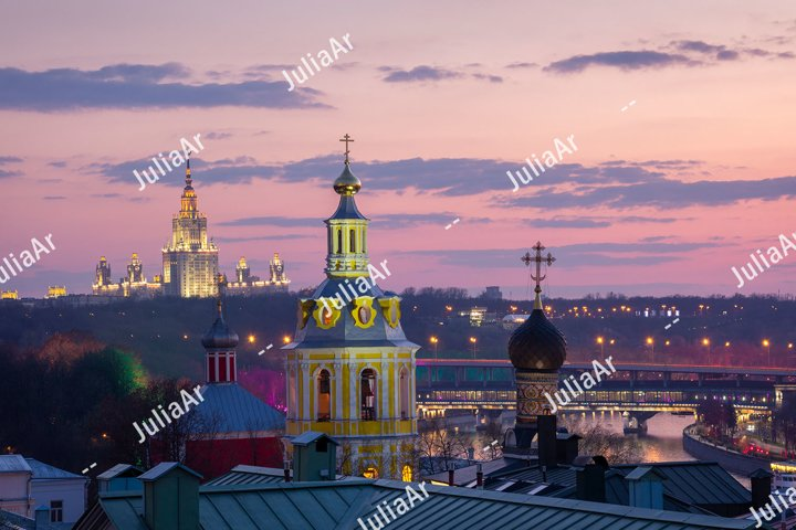 Moscow night view with Andreevsky convent and University.