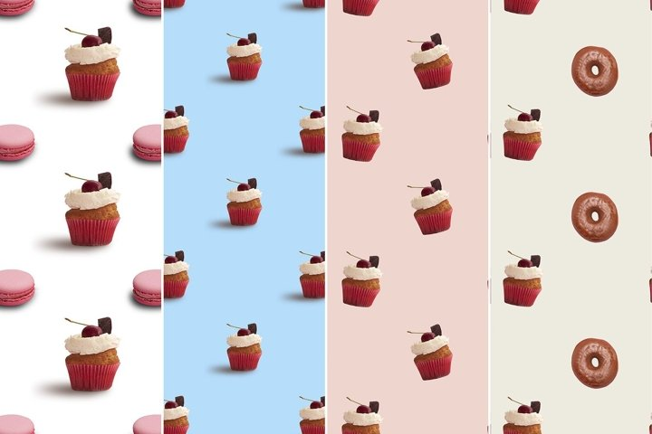 Sweets seamless pattern with donuts, macaroons and cupcakes