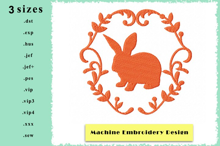 Silhouette Framed Rabbit Machine Embroidery Design 3 sizes