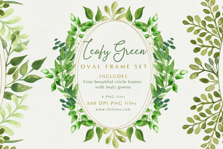 Oval Shape Leaf Green Wreath Set
