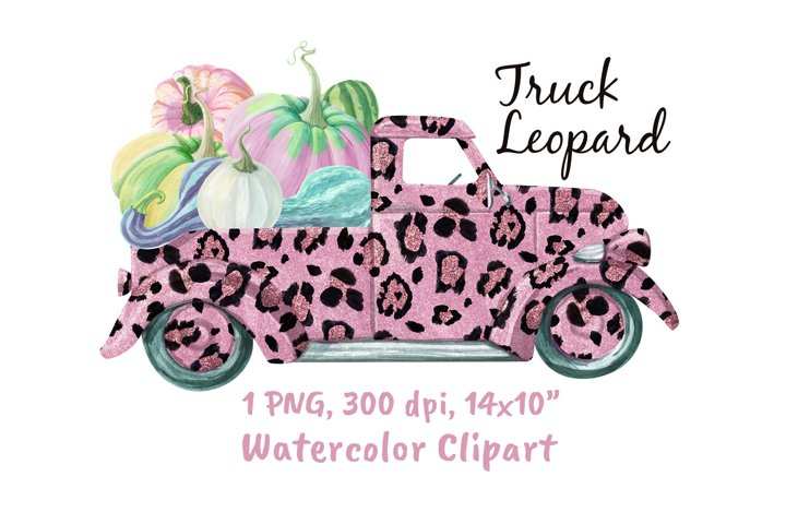 Pink Truck Leopard Print With Pumpkins