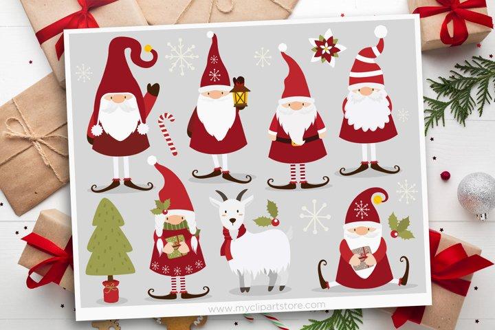 Scandinavian Christmas Gnome Clipart - Vector Clip Art & SVG