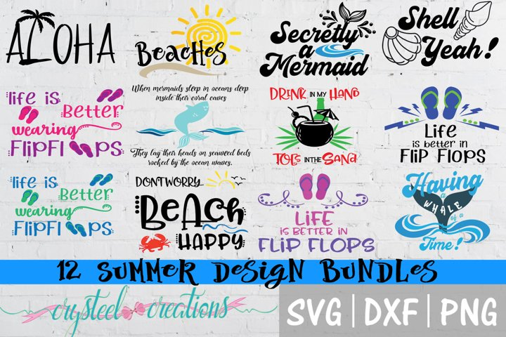 Summer Design Bundles 12 files SVG, DXF, PNG,EPS