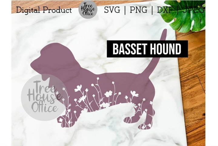 Basset Hound Floral SVG, Cute Bassie Dog with Flowers PNG