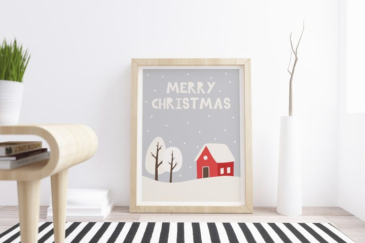 Printable christmas card with winter landscape and lettering