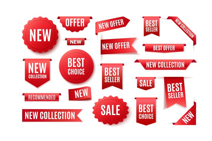 High Quality 3D Red Promo Labels, Badges, Ribbons and Tags.