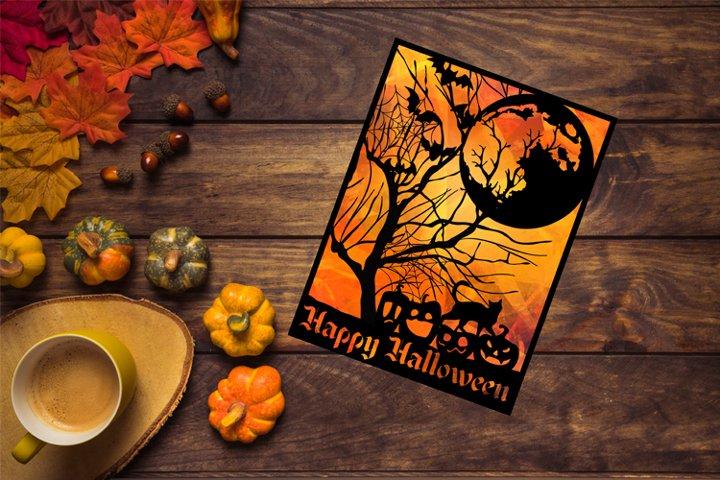 Happy Halloween SVG, Halloween Papercut Template, Fall Decor