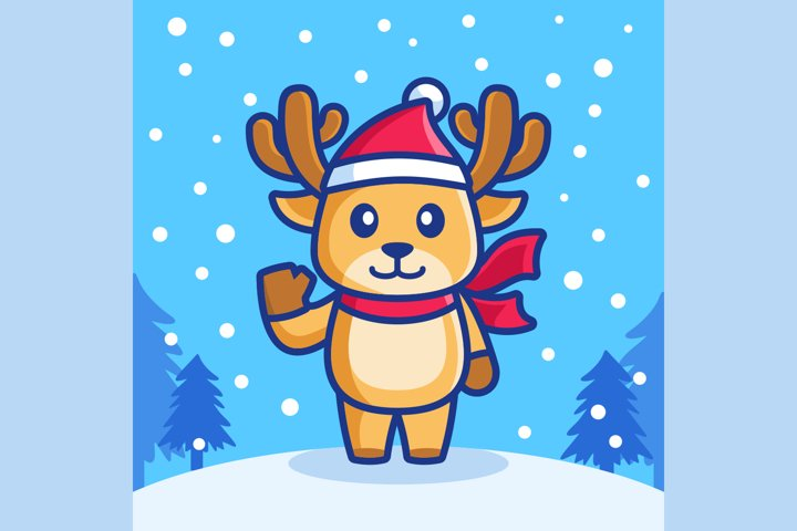 cute reindeer in snowfall winter season