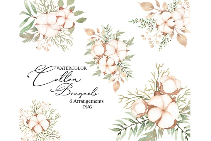 Watercolor Cotton Bouquets Set