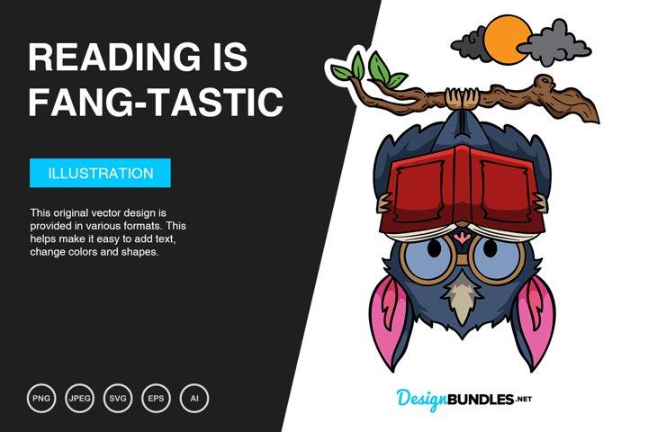 Reading is Fang-tastic Vector Illustration