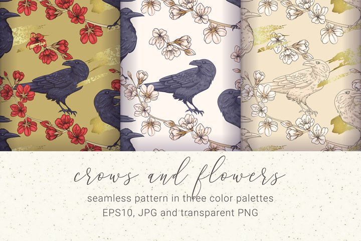 Crows and Flowers Pattern