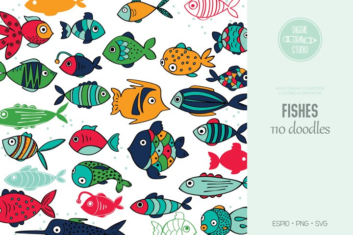 Hand Drawn Fish Color | Cute Tropical Fishes