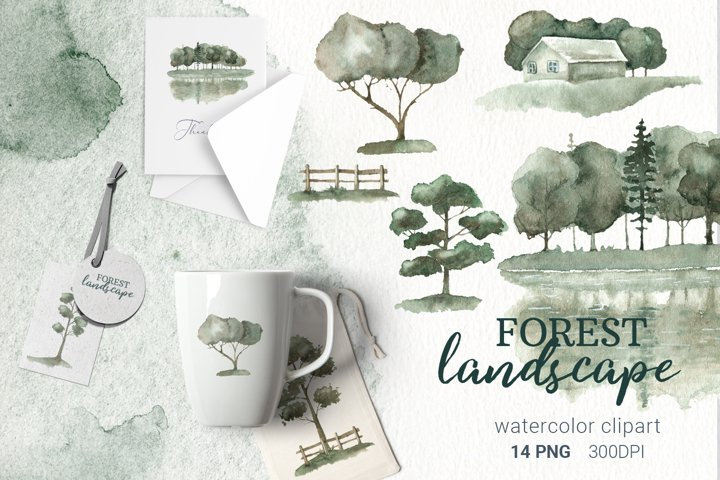 Watercolor tree landscape, forest tree, silhouette, png