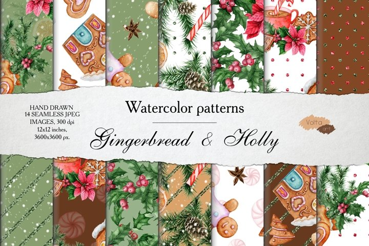 Watercolor Gingerbread Patterns, christmas tree branches JPG