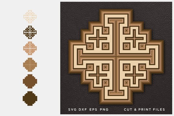 Jerusalem Cross SVG, Cut file, Multilayer, 3D Vector