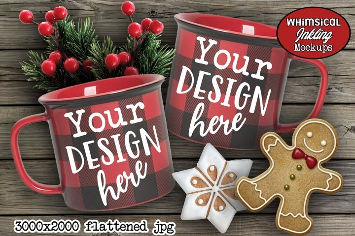 Buffalo Plaid Christmas Cups Mockup