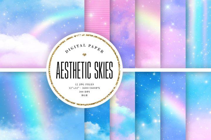 Aesthetic Skies Digital Paper - Pastel Sky Backgrounds