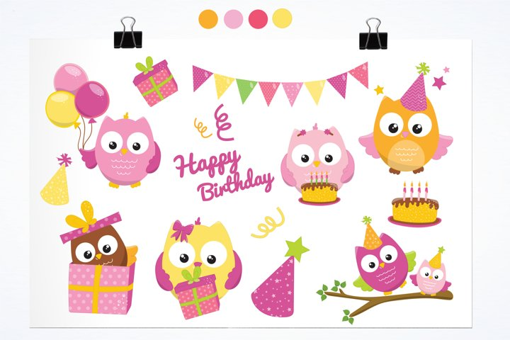 Birthday Owls Girls  graphics and illustrations - Free Design of The Week Design0