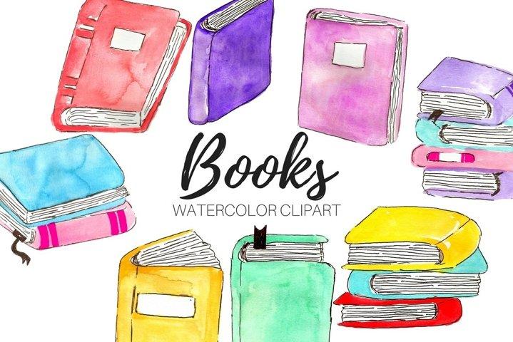Watercolor school book clipart