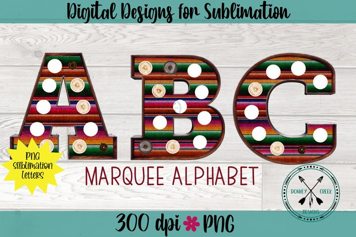 Serape Sublimation Marquee Alphabet