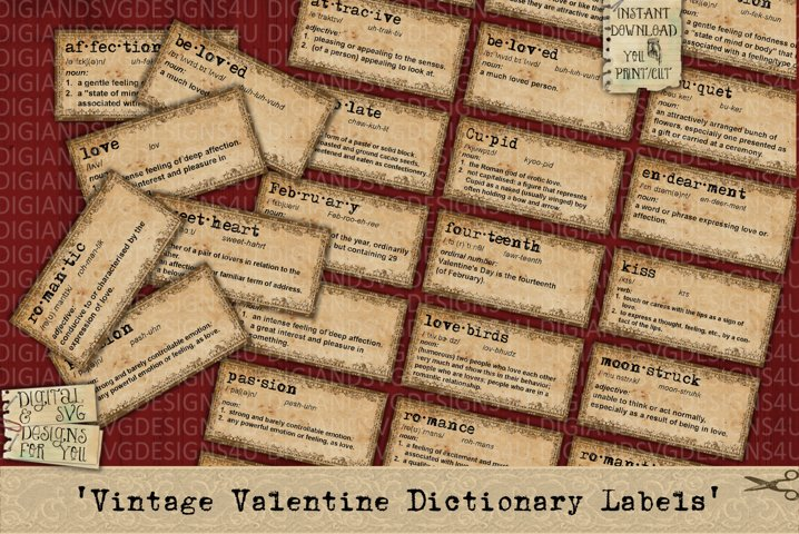 Valentine | Dictionary Definitions | Labels | Printable