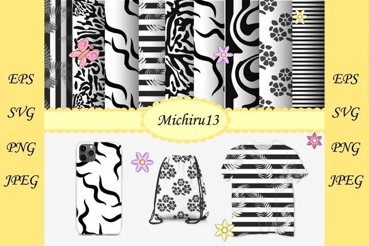 Bundle, large set of 9 Black and white seamless pattern