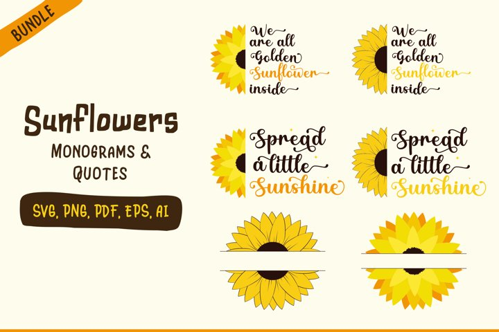 Sunflower svg | Quotes and Monograms | 2 Styles