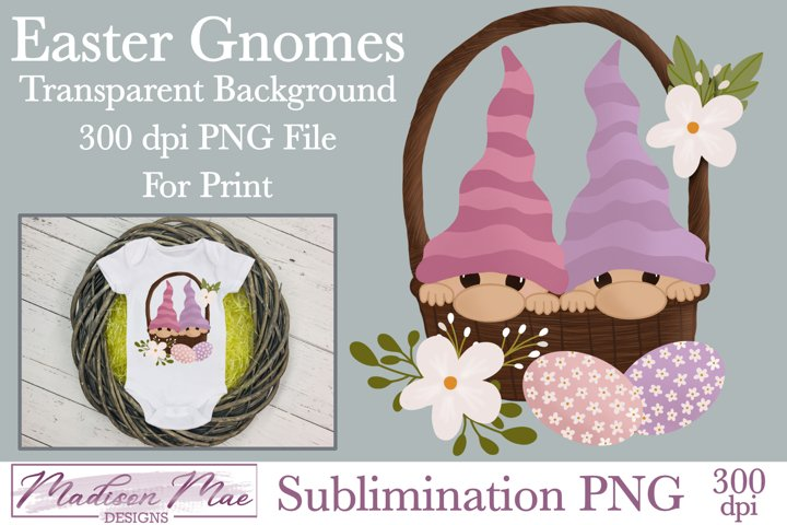 Easter Gnomes In A Basket Sublimination PNG Clipart