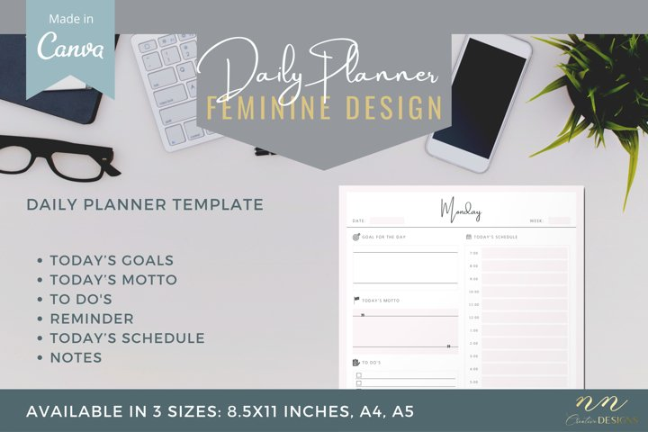 Daily Planner Canva Template for Printable Products