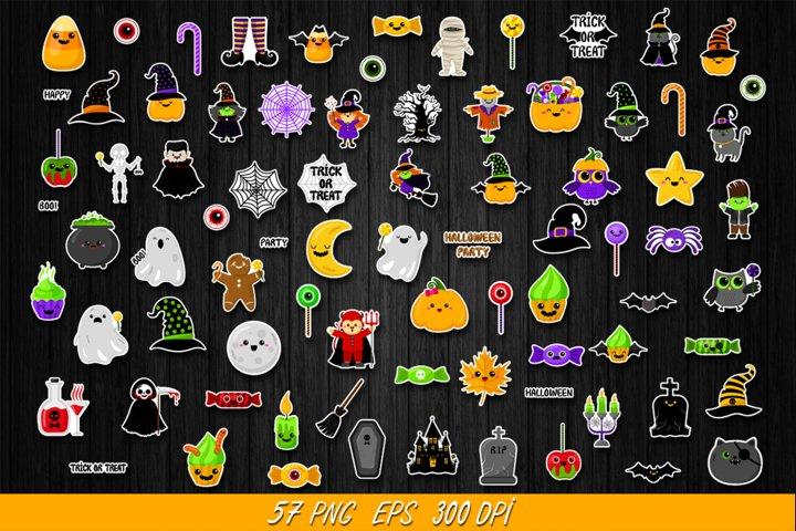 Halloween clipart bundle,halloween stickers,kawaii,cute,PNG