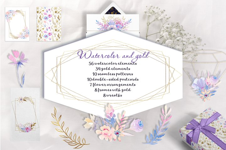 Watercolor and gold flowers