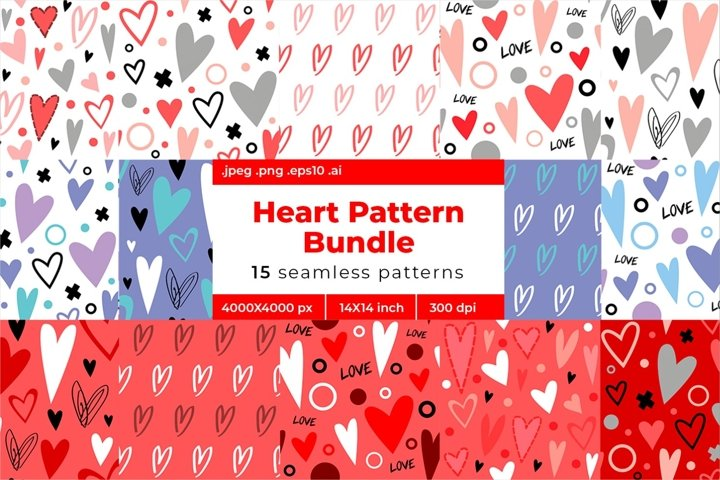 Heart Seamless Pattern Bundle. Valentines day set