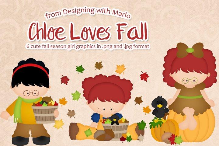 Chloe Loves Fall - Little Autumn Girl Clipart