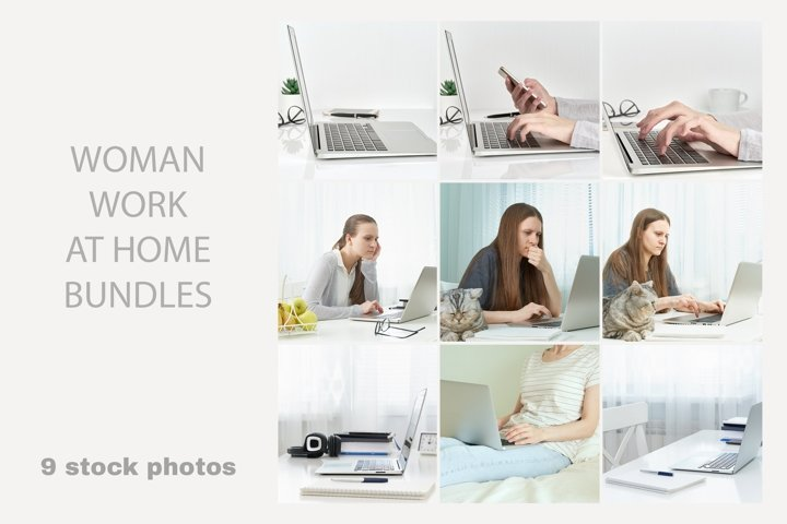 Woman work at home. Freelancer, Digital nomad concept